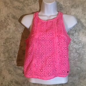 Abercrombie & Fitch Sleeveless Pink Daisy Top